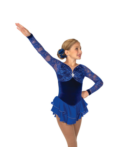 J059/19 Coronation Lace Dress Royal Blue