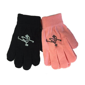 Youth Magic Stretch Gloves with Girl Ice Skater Logo