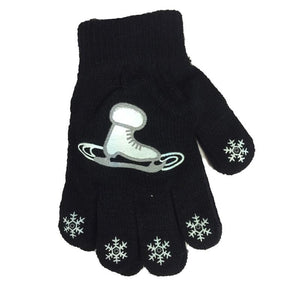 Youth Magic Stretch Gloves with Skate and Snowflake Logo
