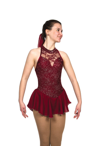 J098/19 Claret Wine Bows & Crystals Dress