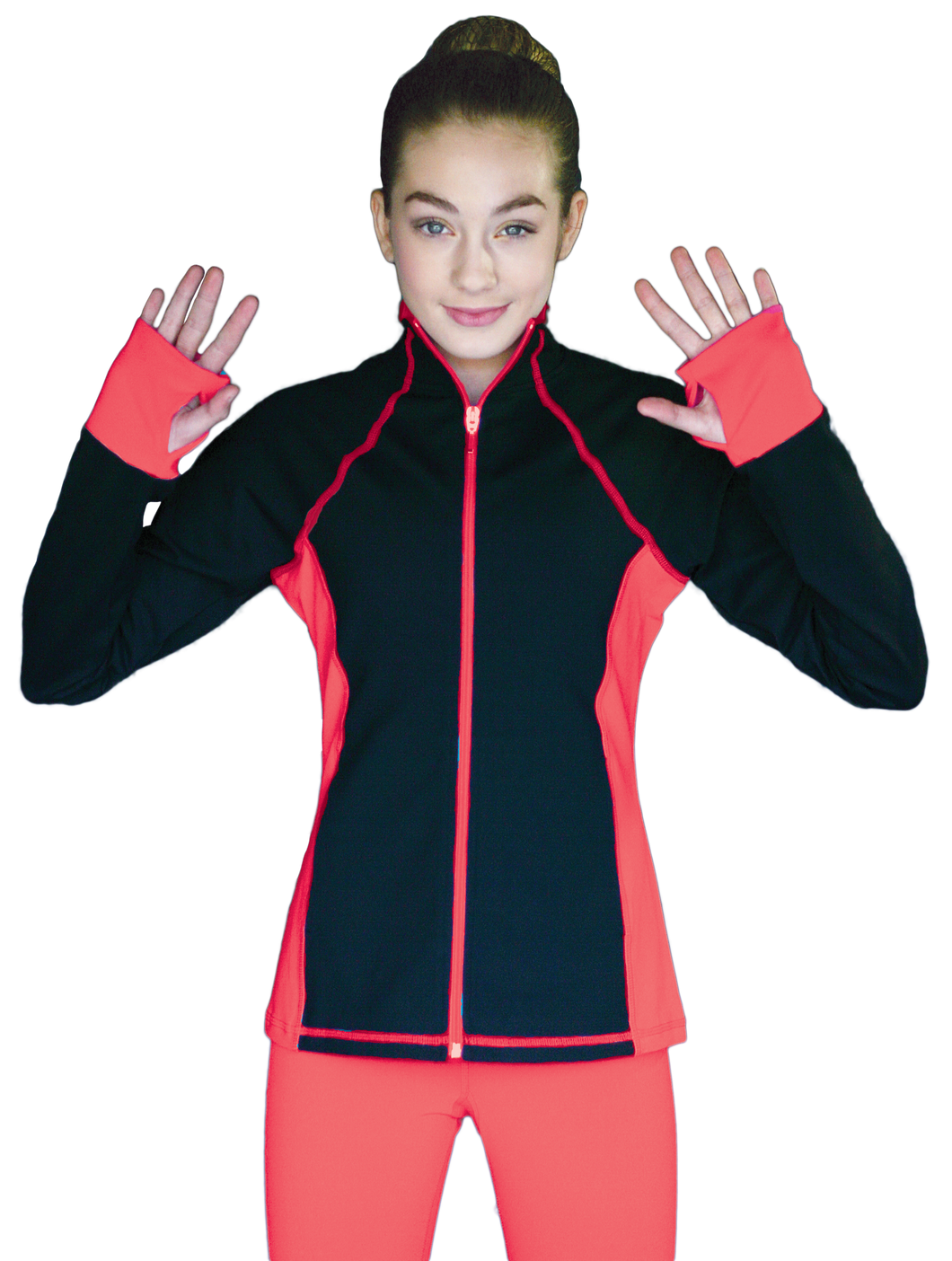 JS792 ChloeNoel Elite Colour Contrast Jacket Coral