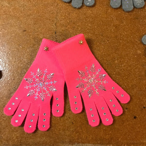 Frozen Couture Snowflake Gloves Hot Pink