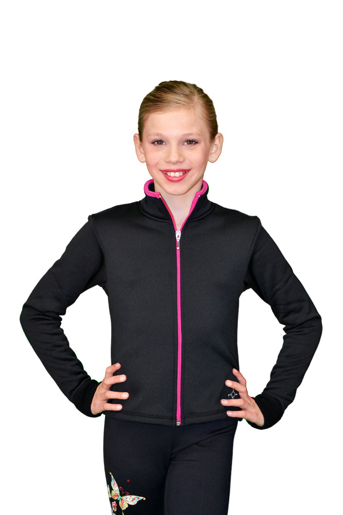 J48 ChloeNoel Coloured Zipper Fitted Polar Fleece Jacket - Fuchsia