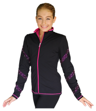 Load image into Gallery viewer, JS96X Crystal Spiral Jacket with Colour Zipper Fuchsia