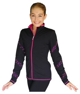 JS96X Crystal Spiral Jacket with Colour Zipper Fuchsia