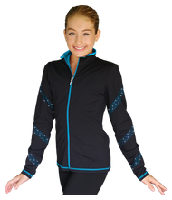 Load image into Gallery viewer, JS96X Crystal Spiral Jacket with Colour Zipper Turquoise