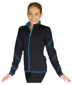 JS96X Crystal Spiral Jacket with Colour Zipper Turquoise