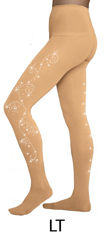 TF8830X(2) ChloeNoel Crystal Swirl Footed Tights Light Tan