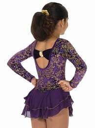 J178/16 Gold Scrolls Purple Dress - Child 8-10