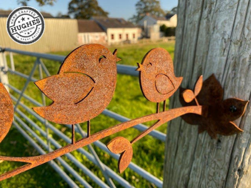 Birds on branch / Rusty Birds / The Chatterboxes / Rustic Outdoor Bird Art
