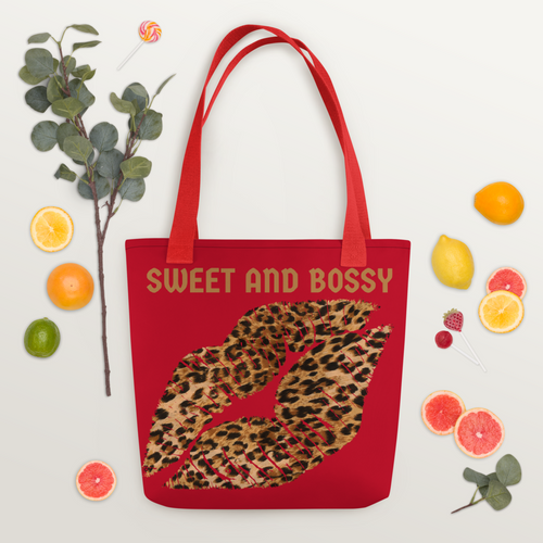 Red Logo tote with Leopard Kiss
