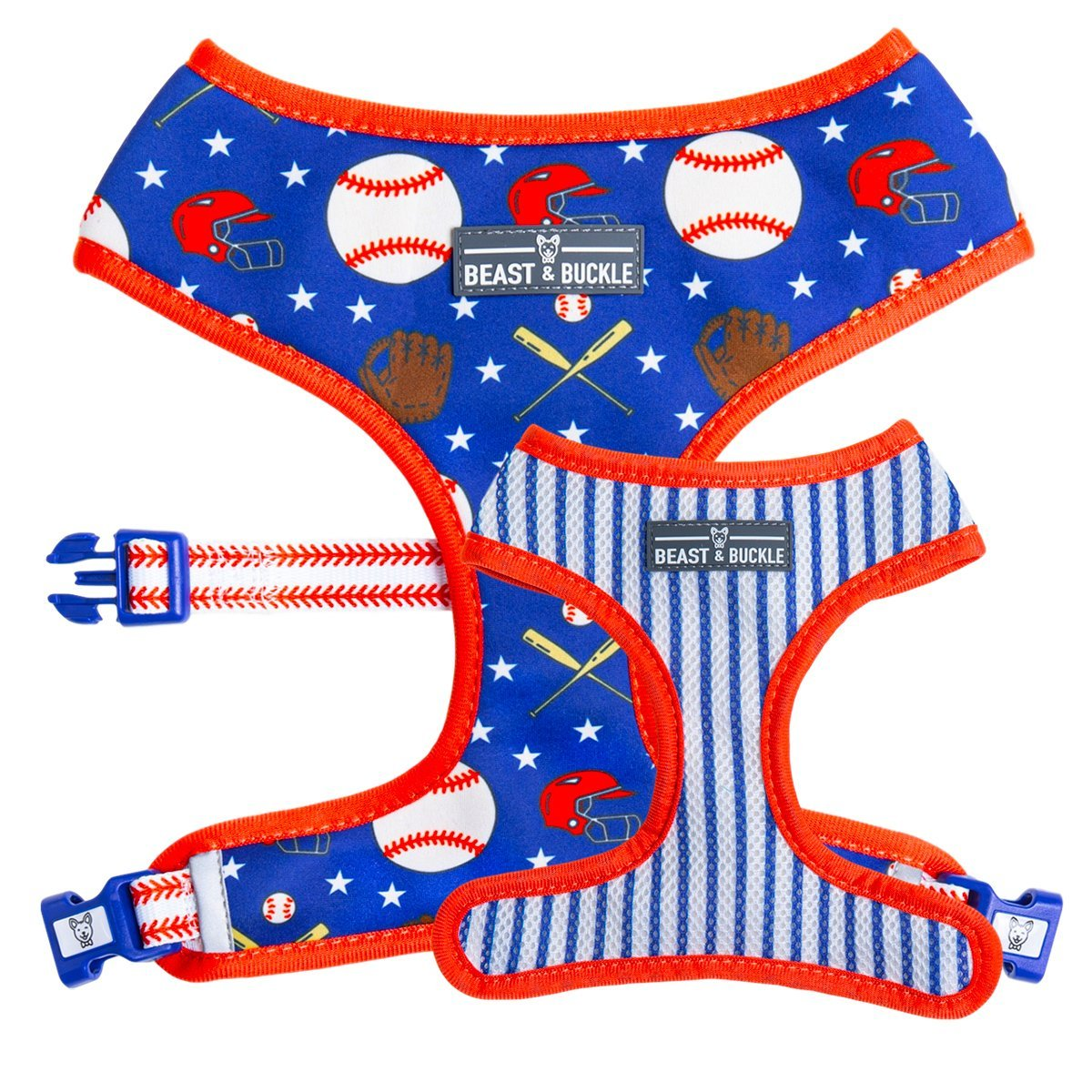 Baseball Reversible Dog Harness - Beast & Buckle