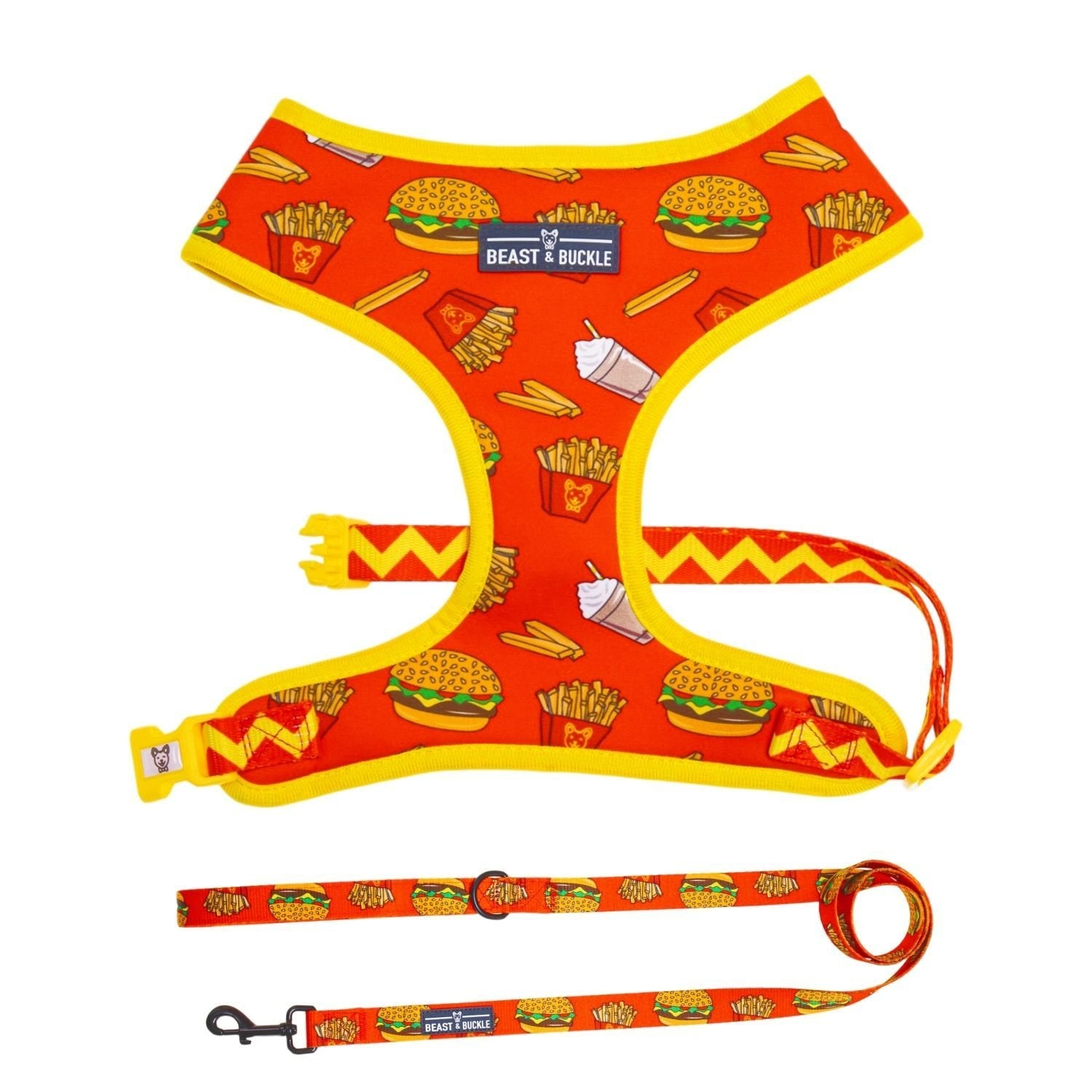 Burgers 'n' Fries Harness & Leash Set - Beast & Buckle