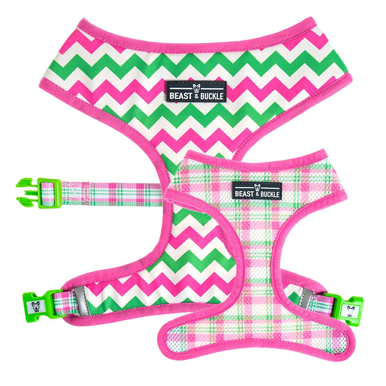 Chevrons 'n' Plaid Reversible Dog Harness - Beast & Buckle