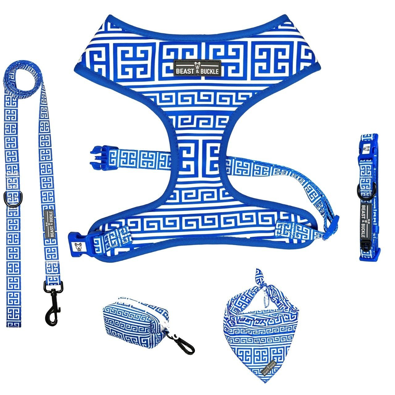 Greek Key Classic Harness Collection Bundle - Beast & Buckle