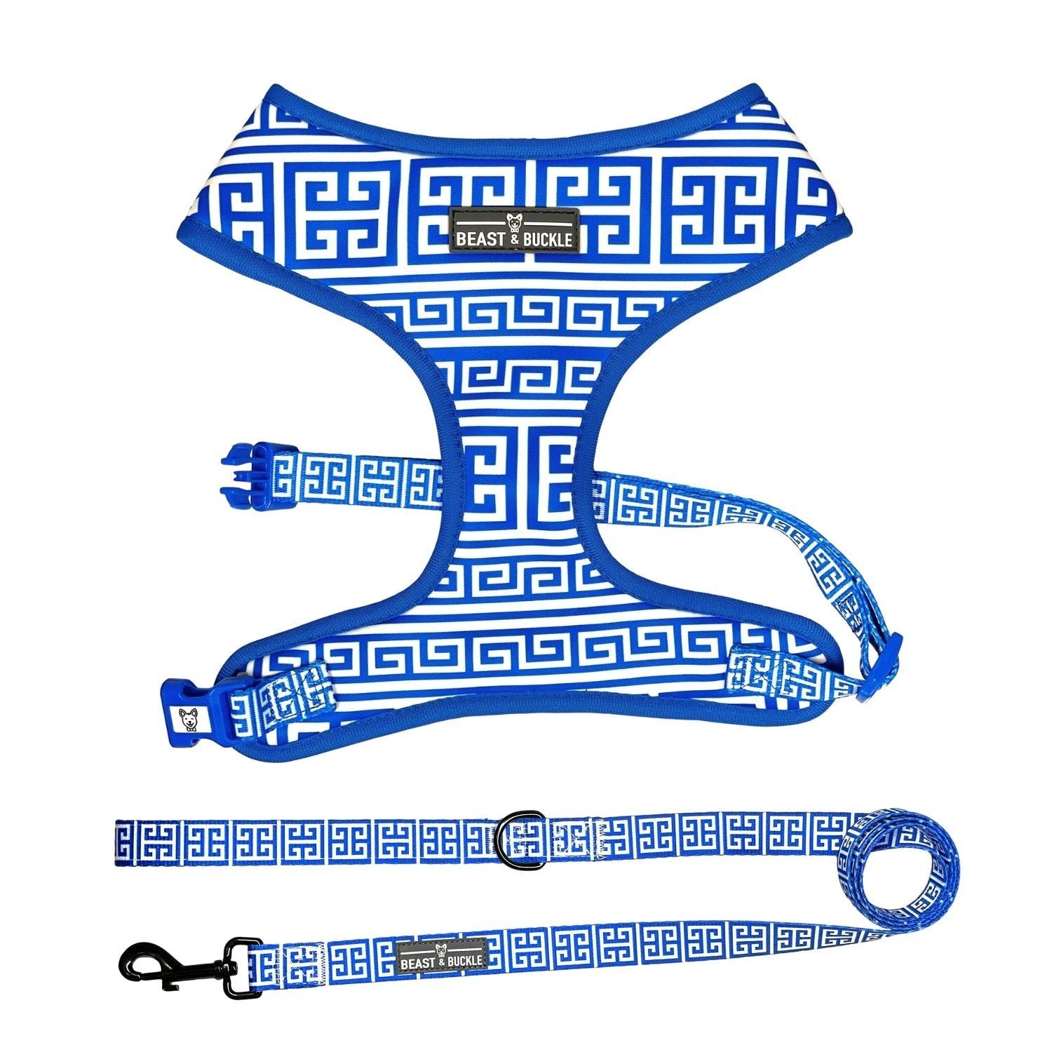 Greek Key Classic Harness & Leash Set - Beast & Buckle