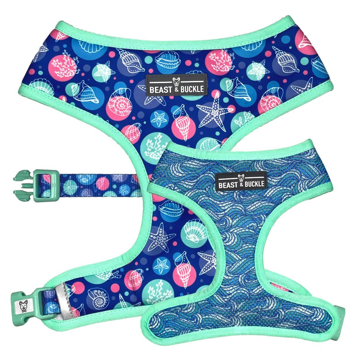Seashell Reversible Dog Harness - Beast & Buckle