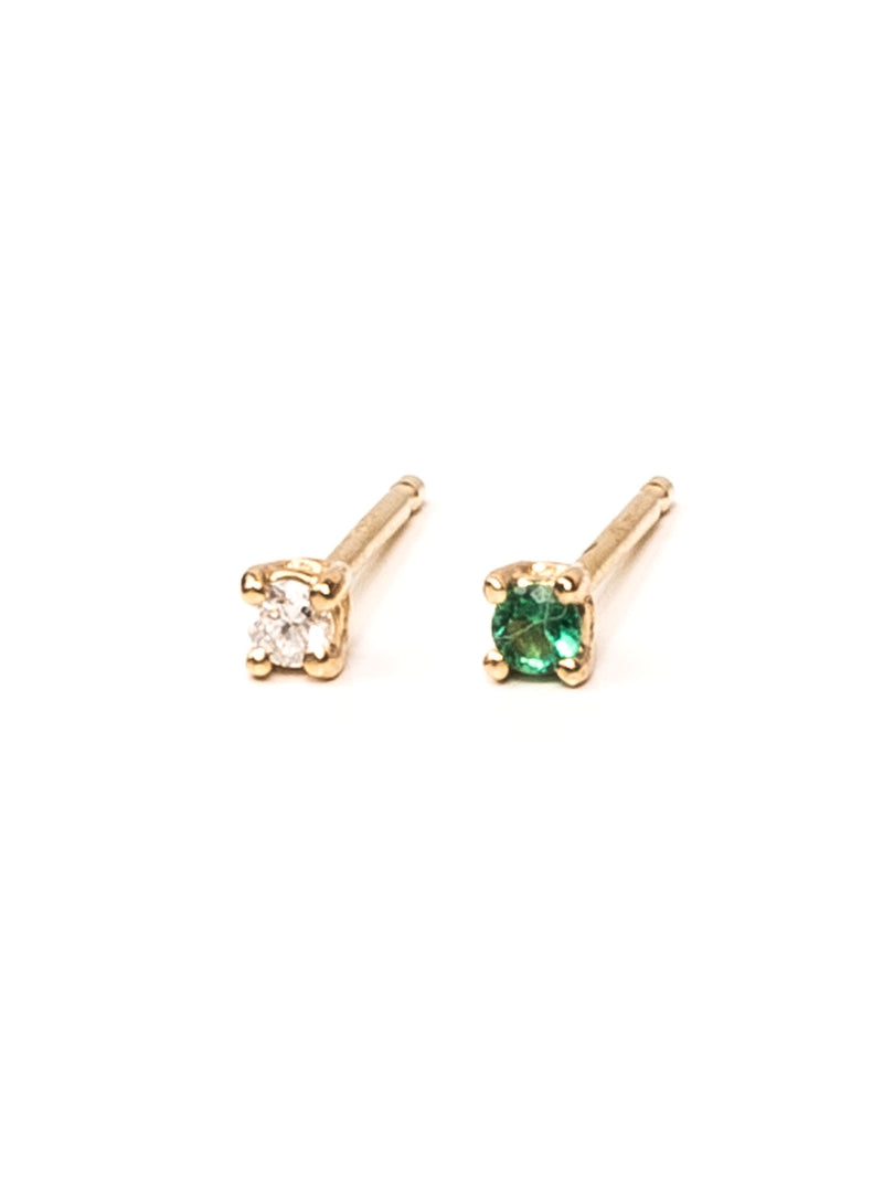 2mm Prong Set Emerald Earring - Ever Fine Jewelry