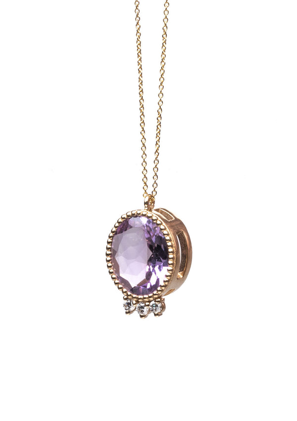 Triad Necklace - Oval Amethyst