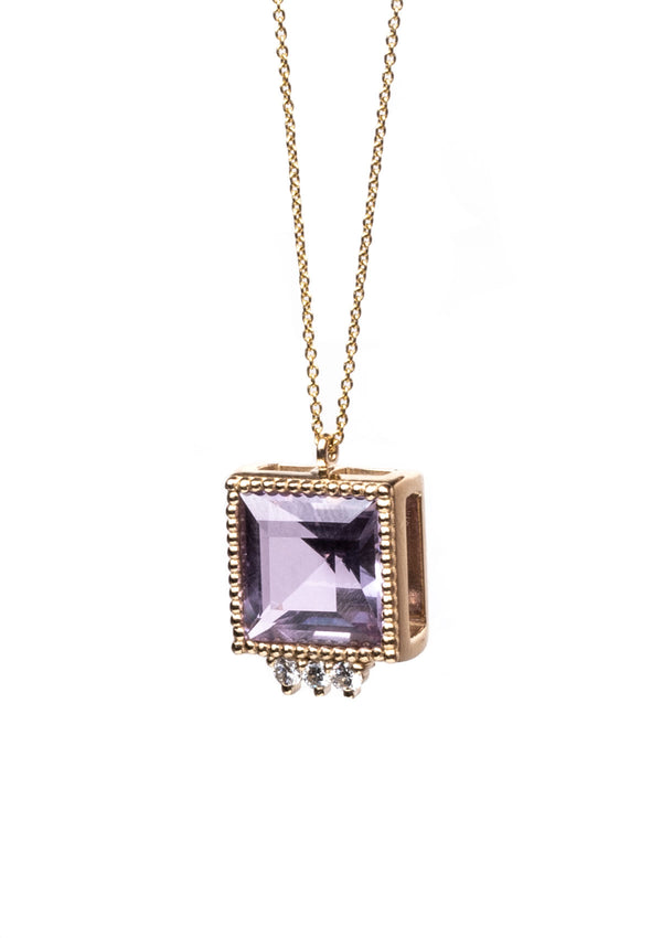 Triad Necklace - Princess Cut Amethyst