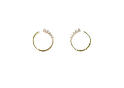 Graduated Diamond Front Facing Hoop Earring