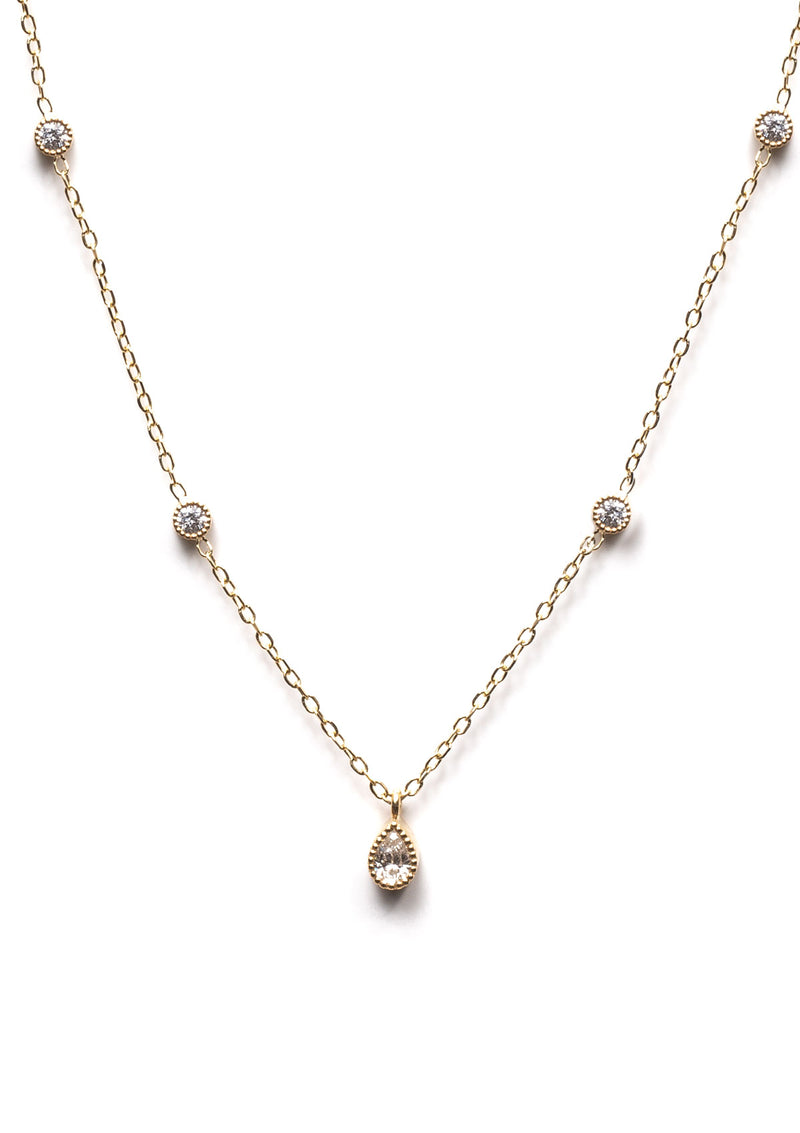 Diamond Pear Station Necklace