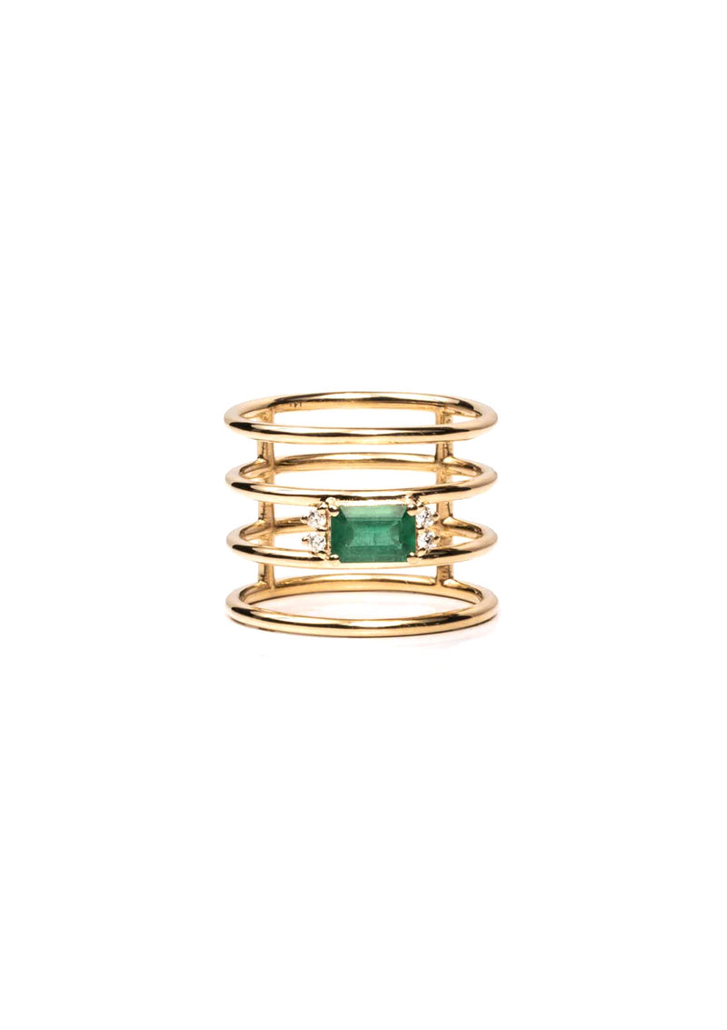 Quad Halo Ring - Emerald