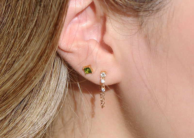 Diamond Chain Drape Earring