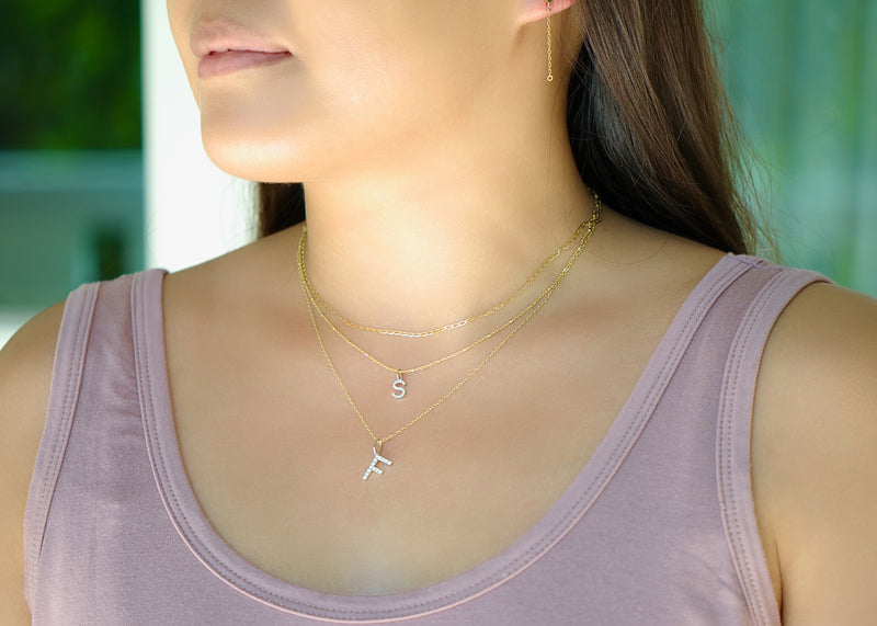 Diamond Initial Pendant - Small