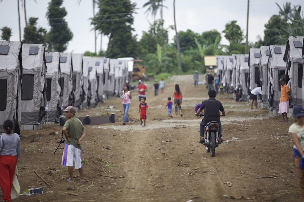 Barebones Shelters line a community in the Philippines