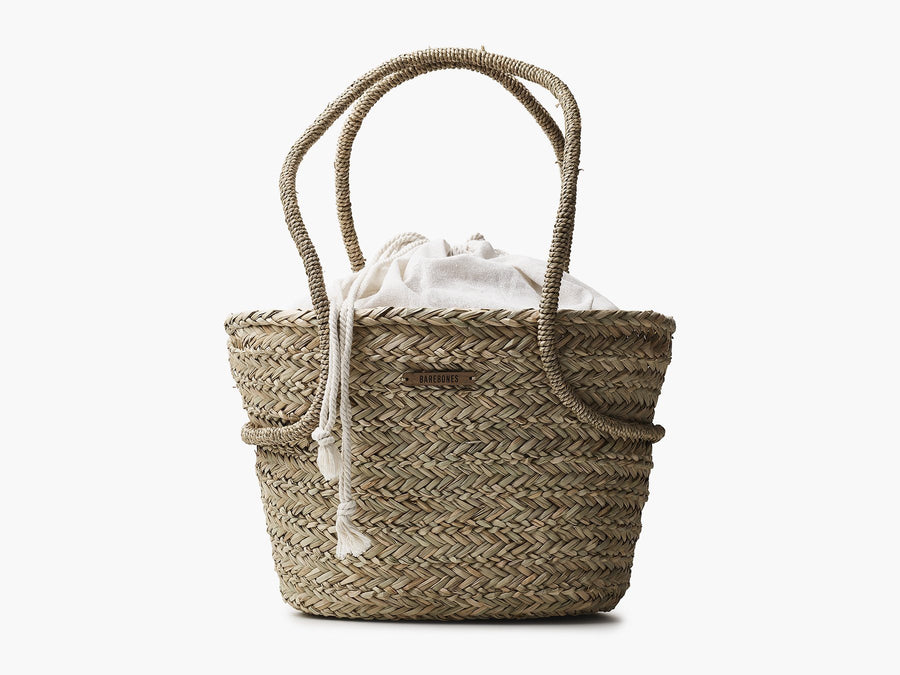 Seagrass Market Tote with Linen Liner