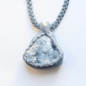 Blue Celestite Cluster Necklace
