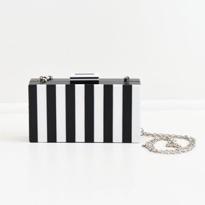 Black and White Striped Plexi Clutch