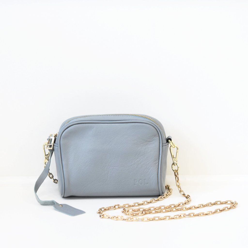 Blue Genuine Leather Crossbody