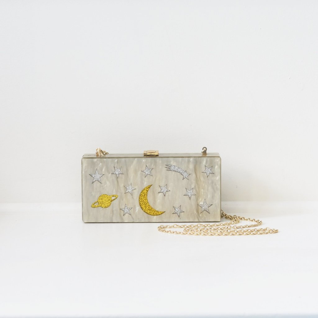 Large Silver and Gold Galaxy Plexi Clutch