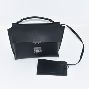 Meron Black Purse with Silver Two-Button Clasp