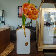 Load image into Gallery viewer, Ceramic Motor Oil Bottle - White with 22k Gold-Luxury Lifted-Luxury Lifted