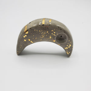 Charcoal Crescent Moon Pipe with 22k Gold Luster-Luxury Lifted