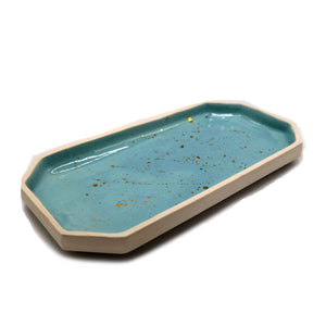 French Blue Rolling Tray with 22k Gold Splatter