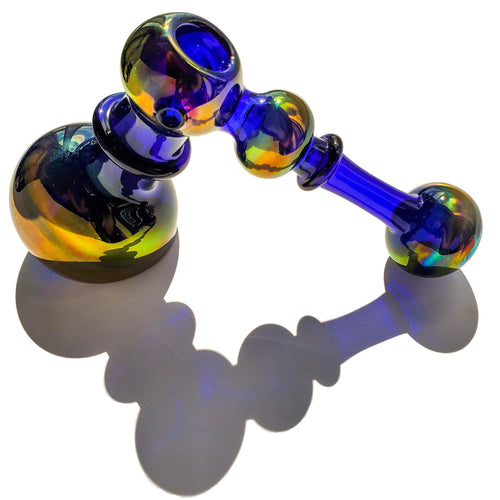 Fumed Hammer Magic Bubbler - Blue and Gold--Luxury Lifted