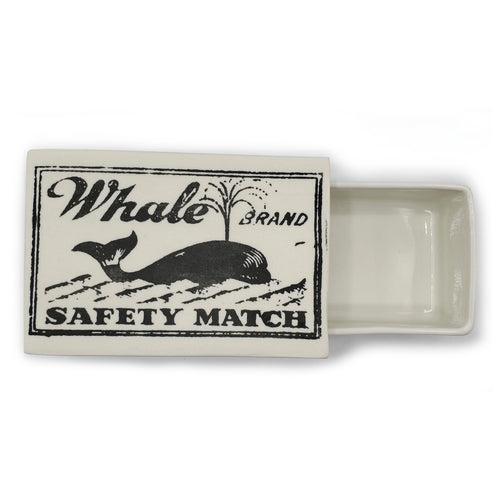 Vintage Printed Ceramic Matchbox - Whale--Luxury Lifted