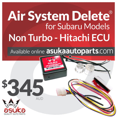asuka auto parts, air system delete, subaru parts, hitachi ecu, subaru non-turbo