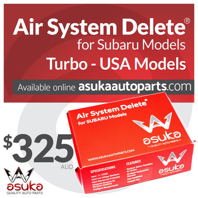 asuka auto parts, air system delete, subaru turbo, subaru us model