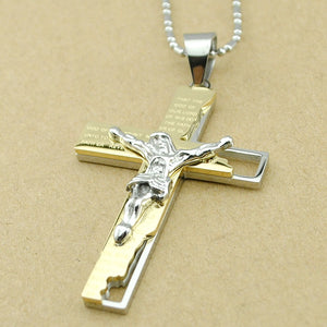 Catholic Church Stainless Steel Jesus Cross Necklace - GamechangerKing