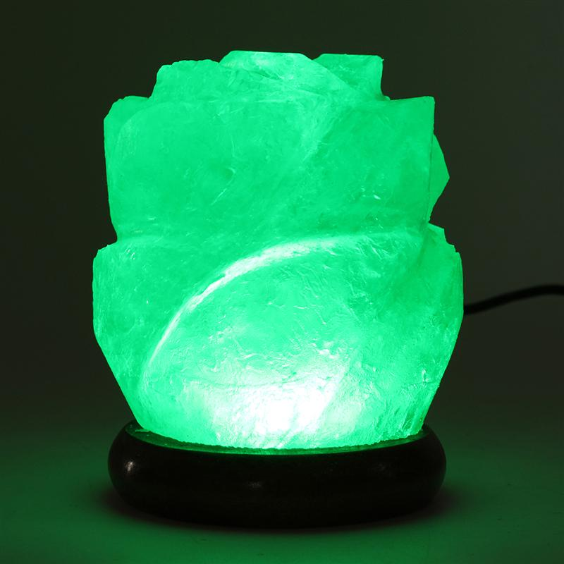 Flower Salt Lamp Night Light with Wooden Base - GamechangerKing