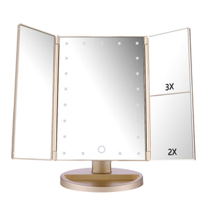 Makeup Mirror with Tri-fold Three Panels and 21 LEDs - GamechangerKing