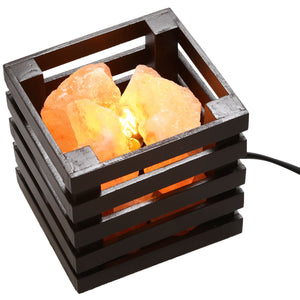 Himalayan Crystal Salt Lamp with Wood Basket - GamechangerKing
