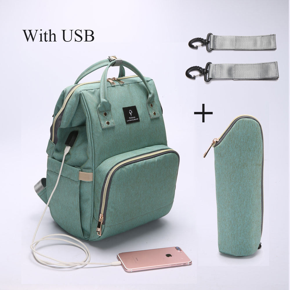 Mummy Maternity Nappy Bag With USB Interface Large Capacity Waterproof Nappy Bag Kits Backpack Maternity Nursing Handbag - GamechangerKing