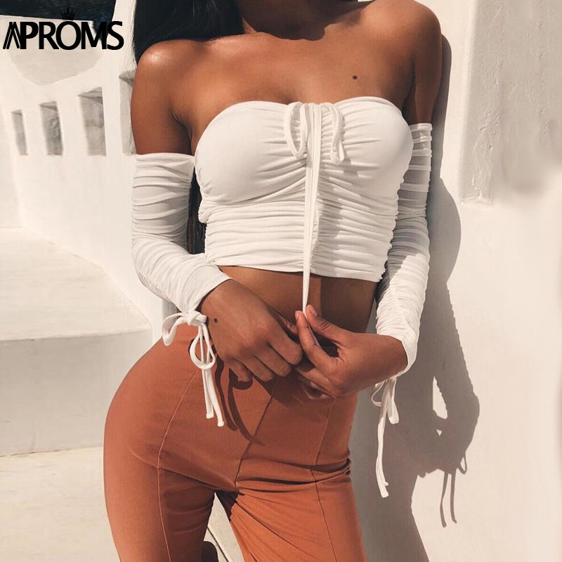 Aproms Coolest Off Shoulder Crop Tops Casual Ruched Pleated White T-shirt Women Short Sleeve Cropped Tshirt for Women Clothing