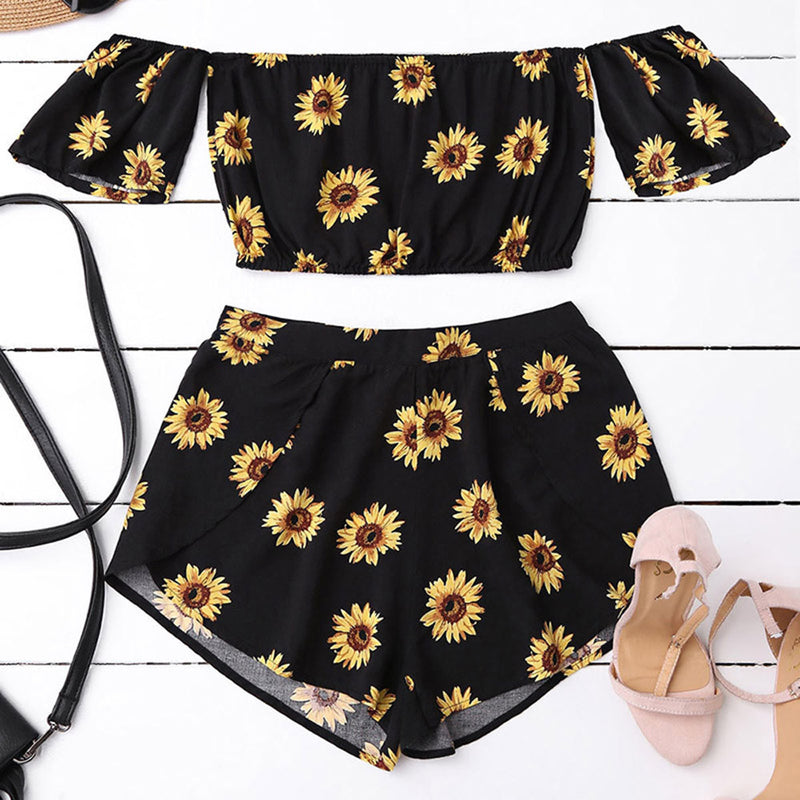 Casual Two Piece Set Women Off Shoulder Sunflower Printed Beachwear Crop Tops